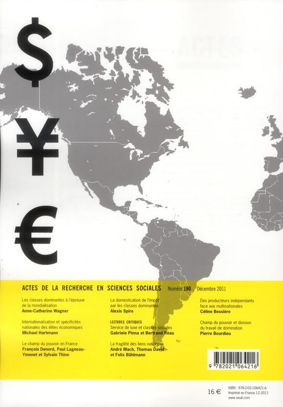 Actes de la recherche sciences sociales t.190; le capital economique dans tous ses etats