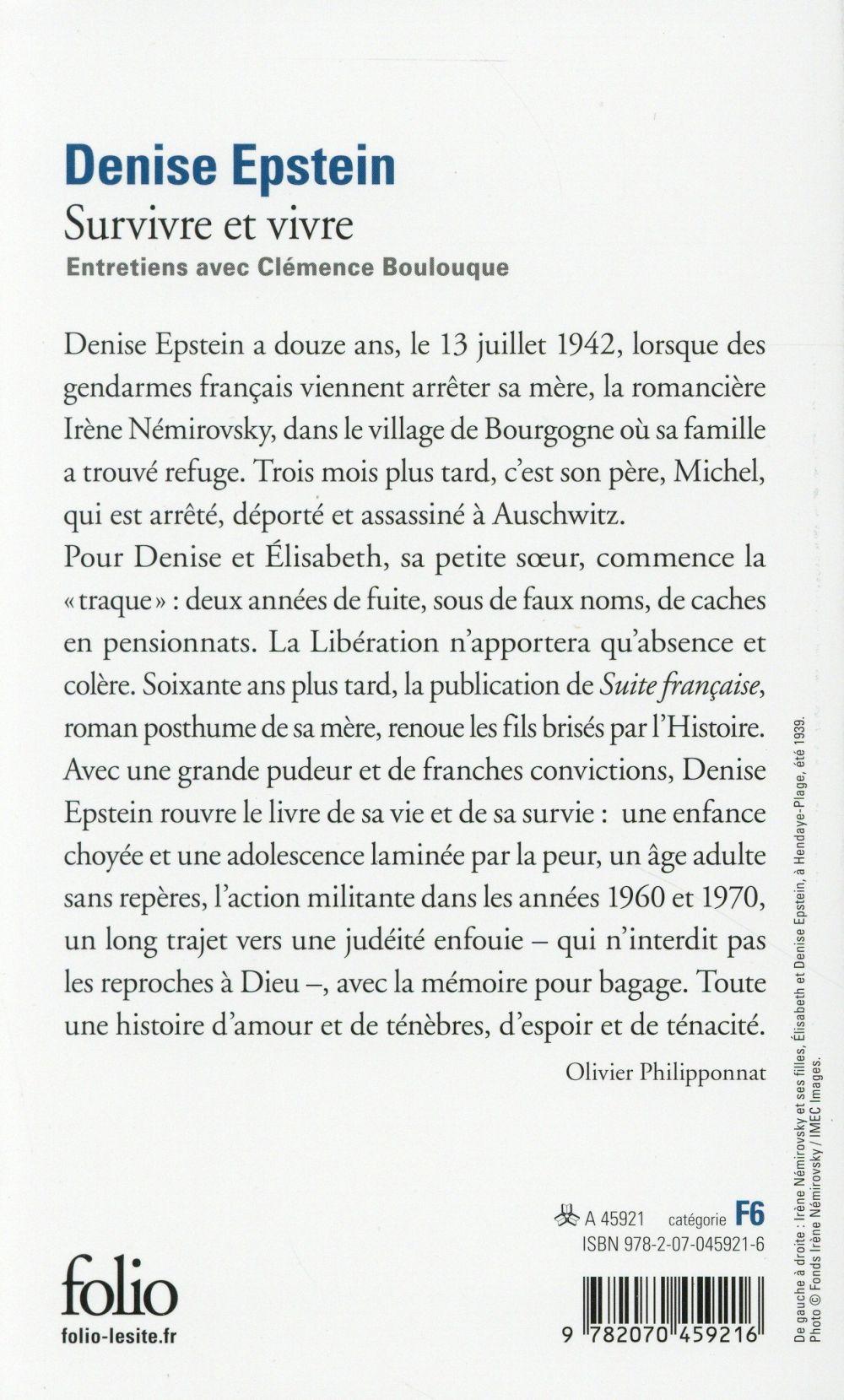 survivre et vivre ; entretiens avec Clémence Bouloque, la fille d'Irène Némirovsky