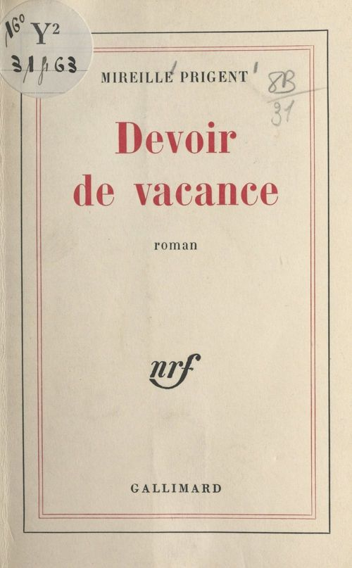 Devoir de vacance  - Mireille Prigent