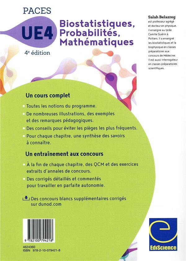 PACES UE 4 biostatistiques probabilités mathématiques ; manuel, cours + QCM corrigés (4e édition)