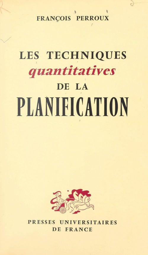 Les techniques quantitatives de la planification