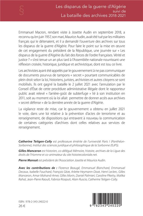 Les disparus de la guerre d'Algérie ; la bataille des archives, 2018-2021