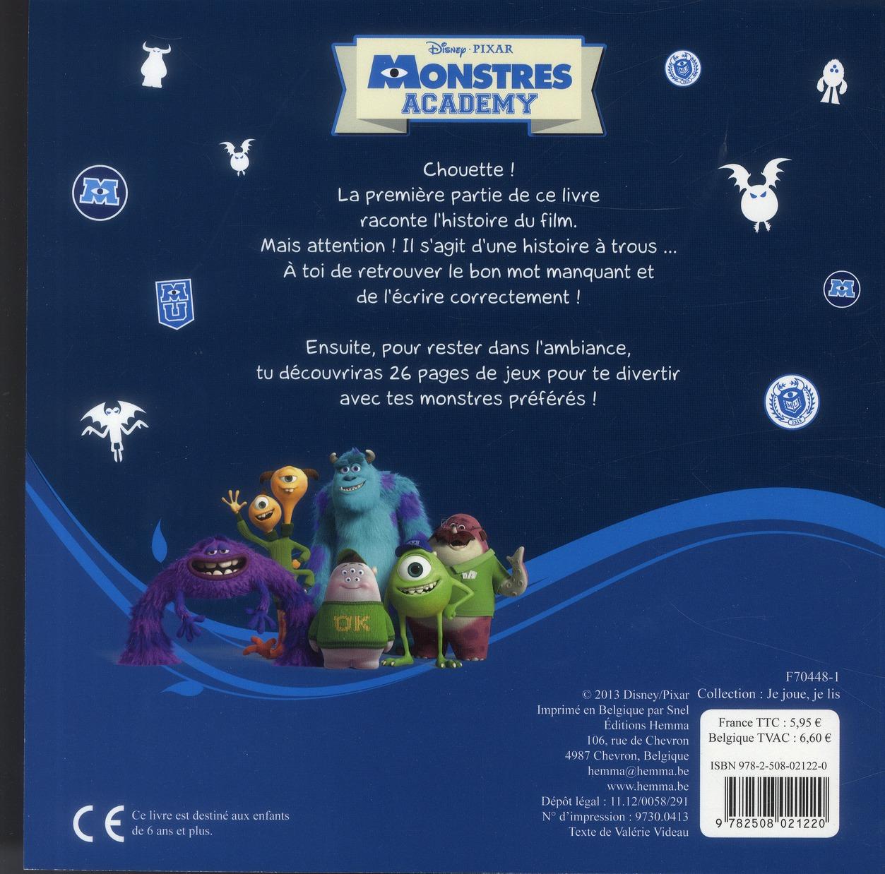 Monstres Academy ; l'histoire à compléter... et des jeux