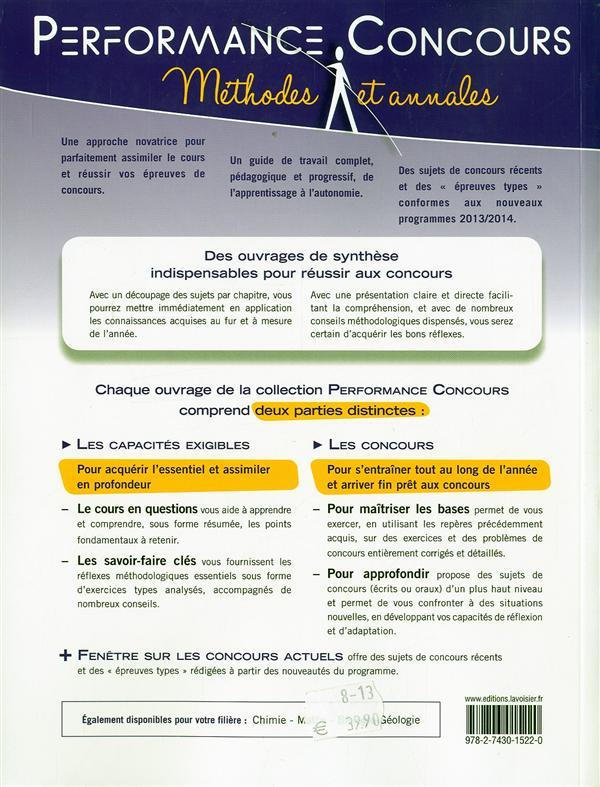 PERFORMANCE CONCOURS ; physique ; BCPST-véto 1re année