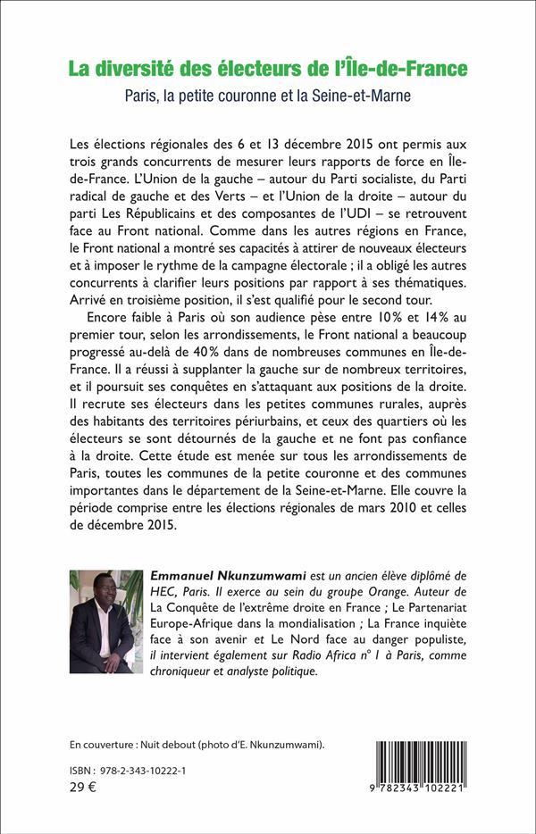 La diversité des électeurs de l'Ile-de-France ; Paris, la petite couronne et la Seine-et-Marne