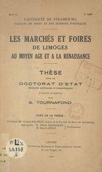 Les marchés et foires de Limoges au Moyen Âge et à la Renaissance