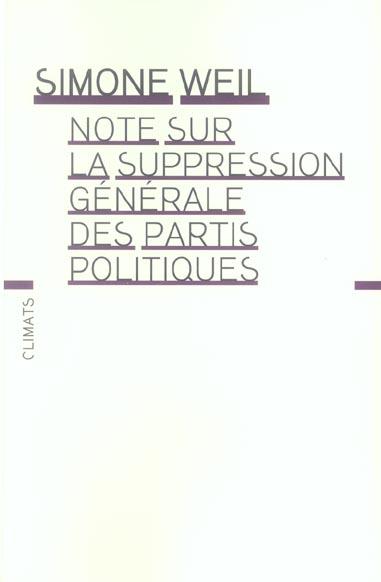 Note sur la suppression generale des partis politiques