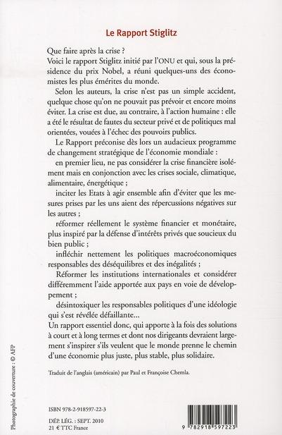 Rapport Stiglitz ; pour une vraie réforme du système monétaire et financier international