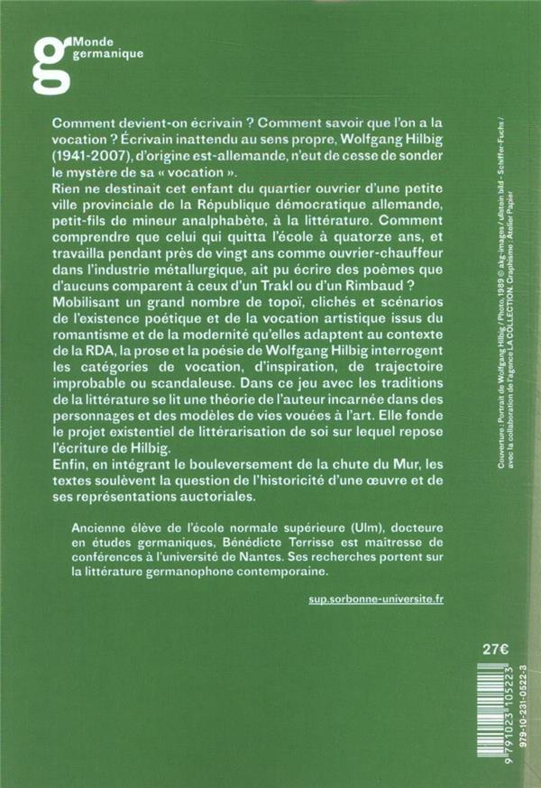 Wolfgang Hilbig ; figures et fictions de l'auteur, scénarios de la vocation