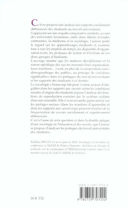 Les etudiants et le travail universitaire. etude sociologique
