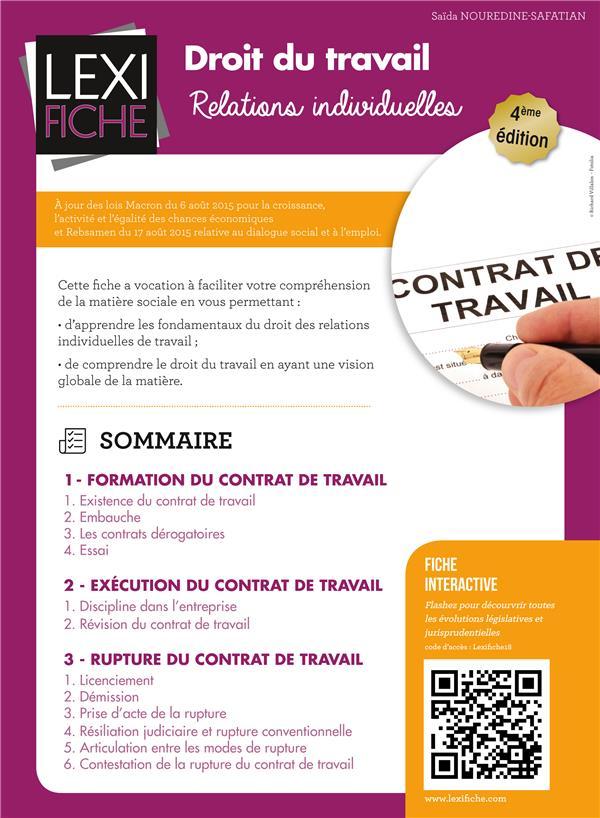 Droit Du Travail ; Relations Individuelles (4e Edition)