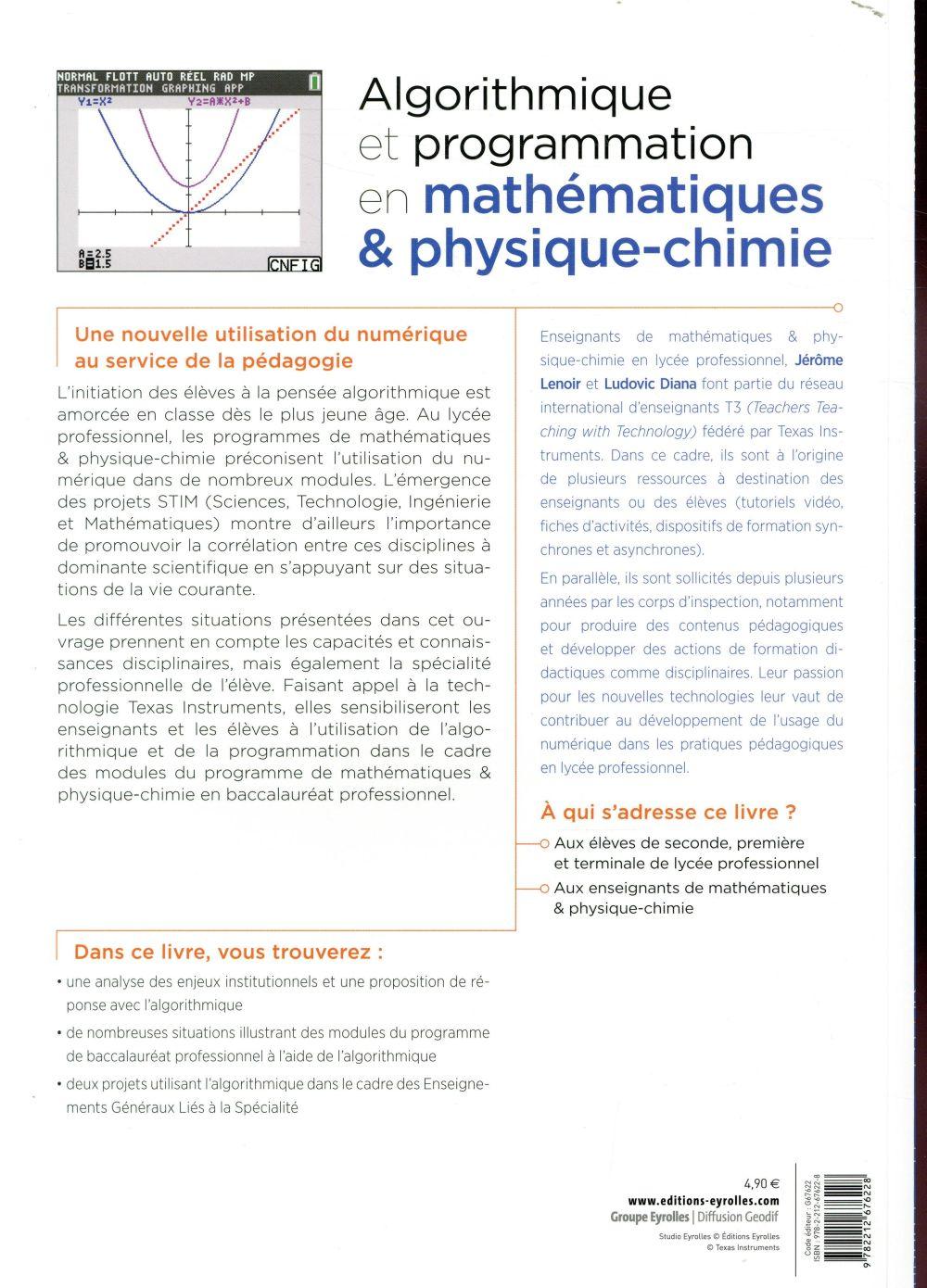 Bac pro ; algorithmique et programmation en mathématiques & physique-chimie (édition 2018)