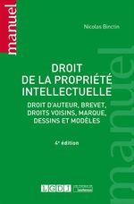 Vente Livre Numérique : Droit de la propriété intellectuelle - 4e édition  - Nicolas Binctin