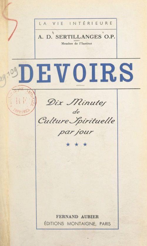 Devoirs (3). Dix minutes de culture spirituelle par jour