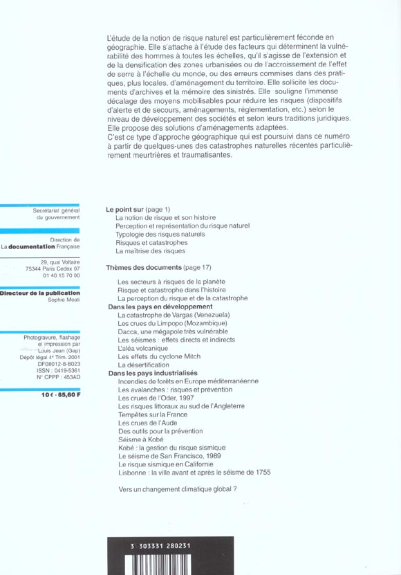 Documentation photographique t.8023; les risques naturels