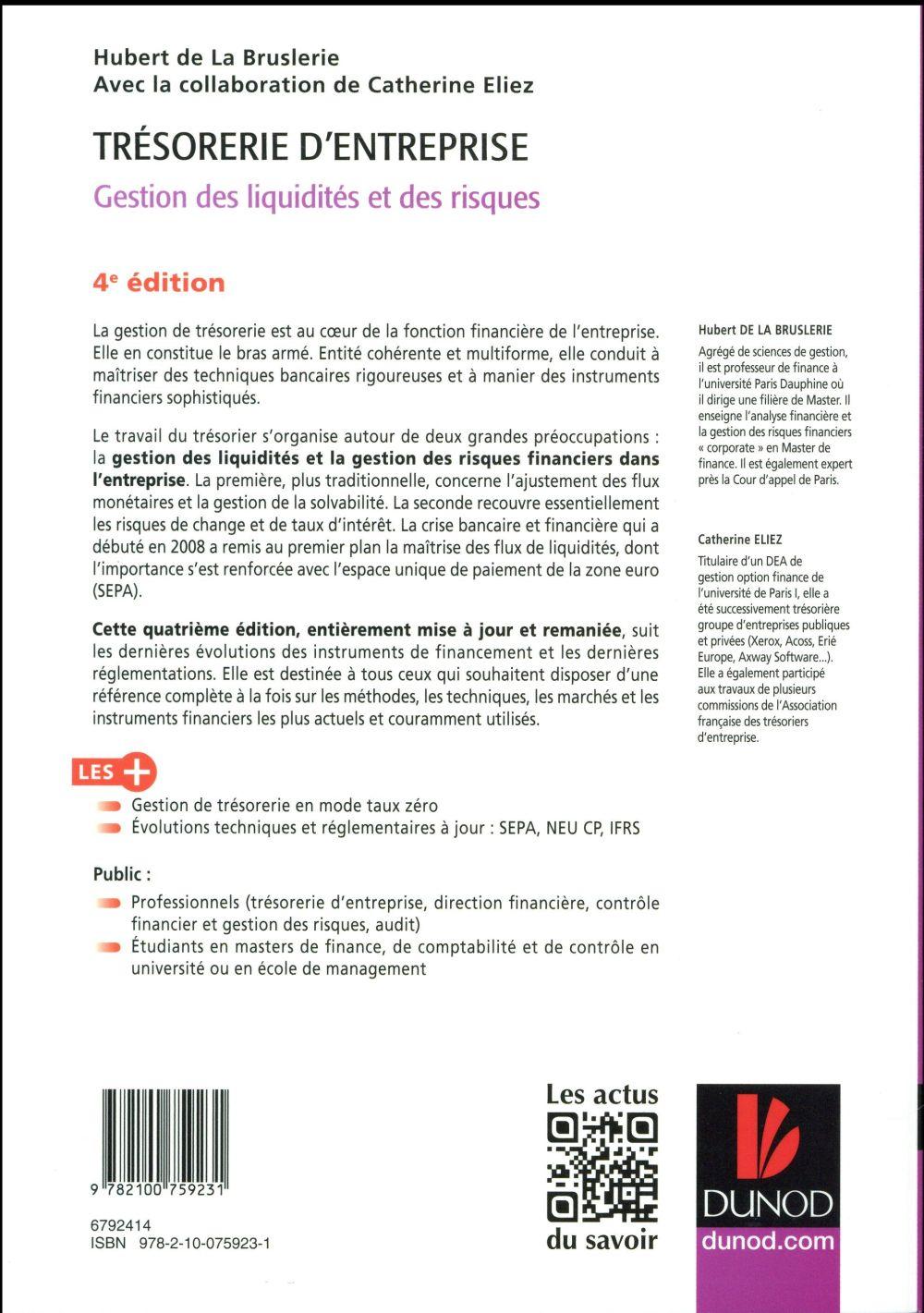 trésorerie d'entreprise ; gestion des liquidités et des risques (4e édition)
