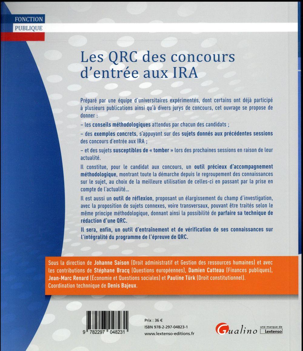 Les QRC des concours d'entrée aux IRA ; manuel de préparation et d'entraînement avec annales corrigées (5e édition)