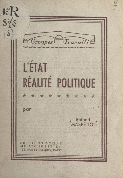 L'État, réalité politique