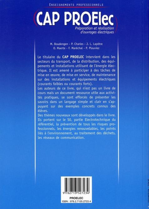 CAP PROElec ; ouvrage de l'élève ; enseignement professionnels