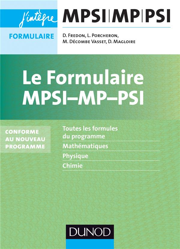 Le Formulaire Mpsi-Mp-Psi ; Mpsi/Mp/Psi ; Formulaire