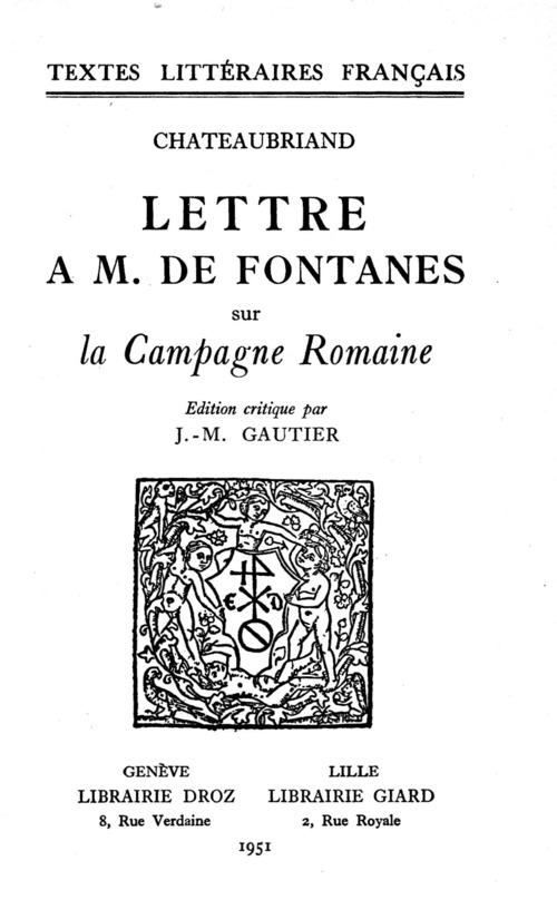 Lettre à M.deFontanes sur la Campagne Romaine