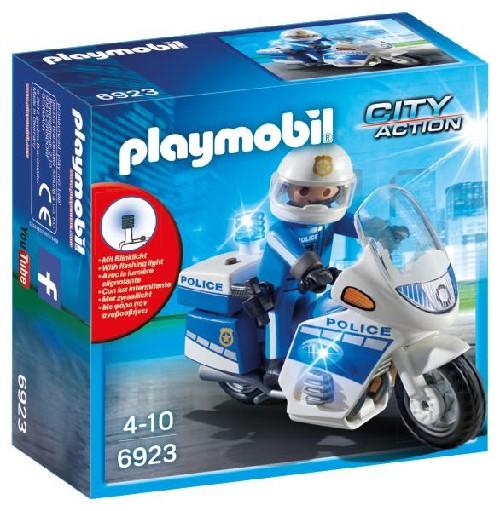 Moto de policier avec gyrophare