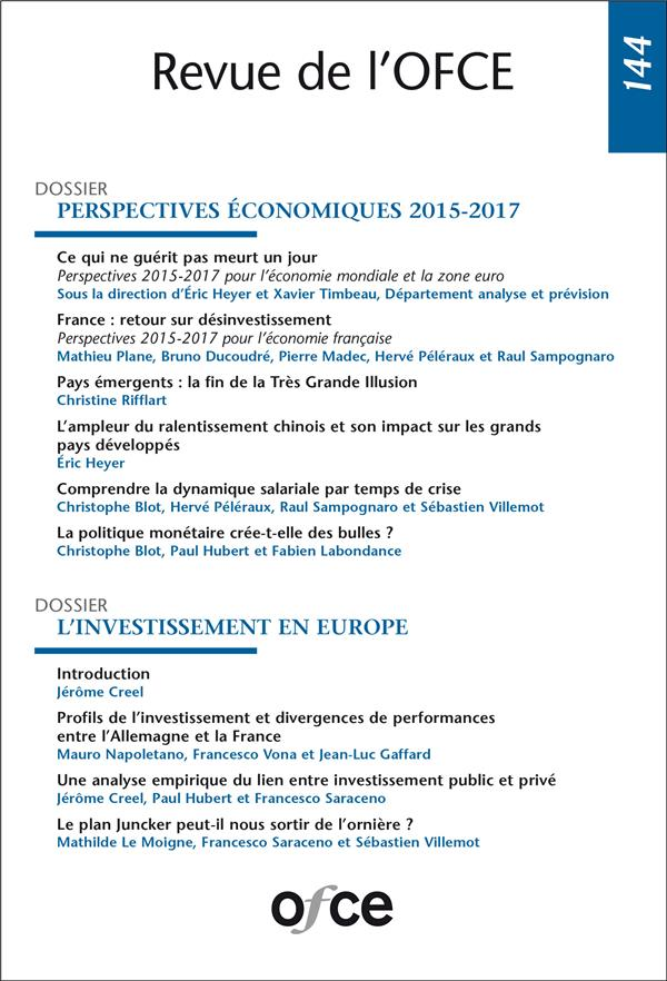 Ofce n.144 ; perspectives economiques 2015-2017