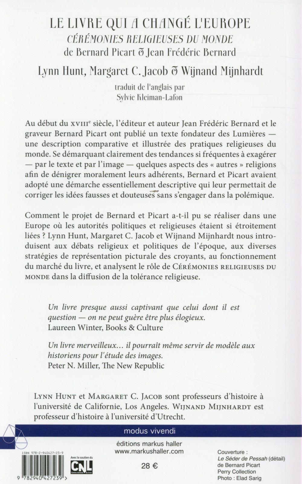 le livre qui a change l'europe - ceremonies religieuses du monde de bernard picart et jean frederic
