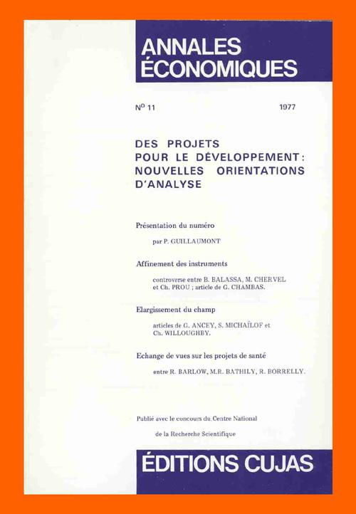 Des Projets Pour Le Developpement ; Nouvelles Orientations D'Analyse
