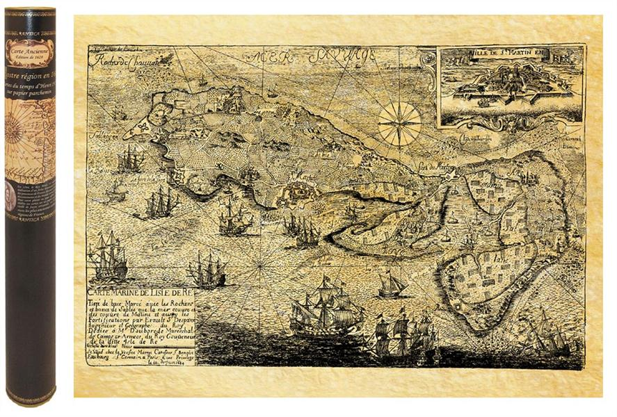 Ile de re en 1684 carte marine 58,5 cm x 42 cm