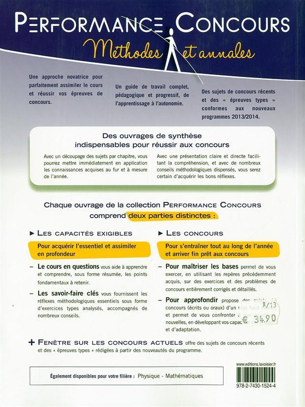 PERFORMANCE CONCOURS ; chimie ; MPSI-PTSI 1re année