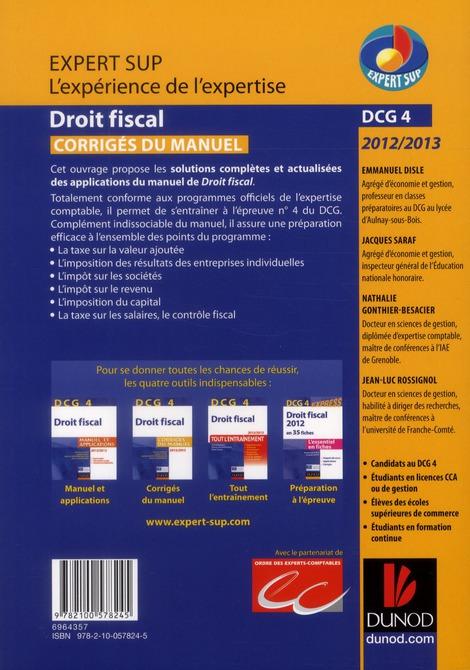 DCG 4 ; droit fiscal ; corrigés du manuel (édition 2012/2013)