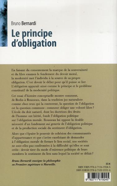 Le principe d obligation