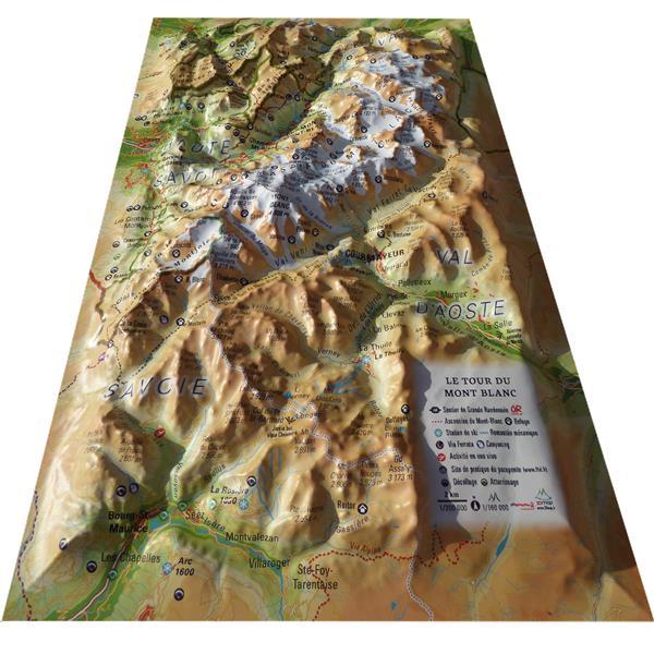 Carte en relief du tour du Mont Blanc