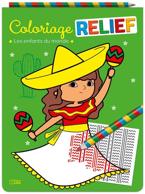 Coloriage relief ; les enfants du monde