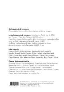 Actes du colloque arts & langage ; épreuves contemporaines des relations textes & images