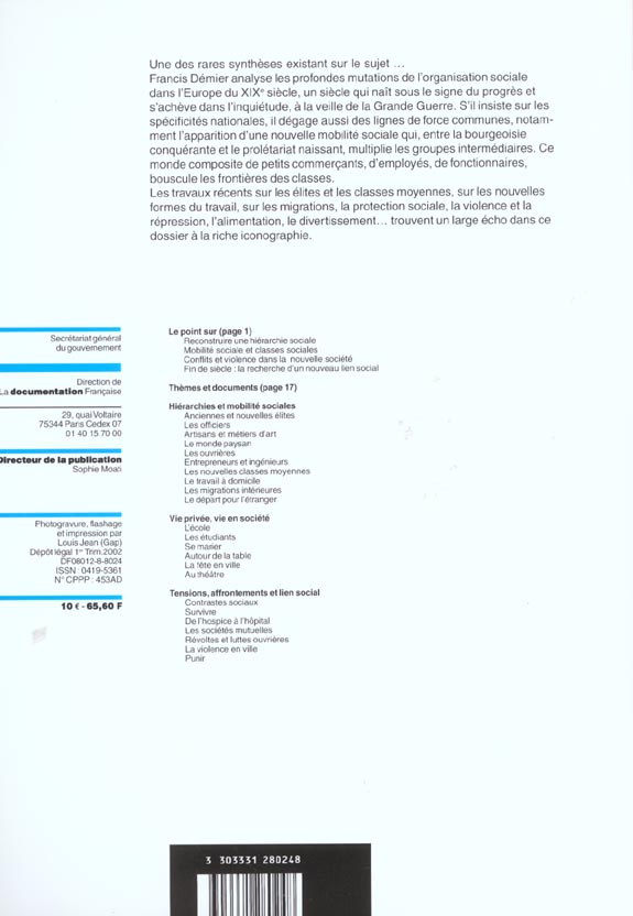 DOCUMENTATION PHOTOGRAPHIQUE T.8024 ; documentation photographique t.8024 ; la societe europeenne au xix siecle