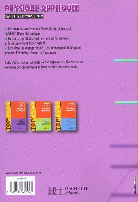 Physique Appliquee Terminale Sti Genie Electronique Livre De L Eleve Paul Martin Hachette Education Grand Format Le Hall Du Livre Nancy