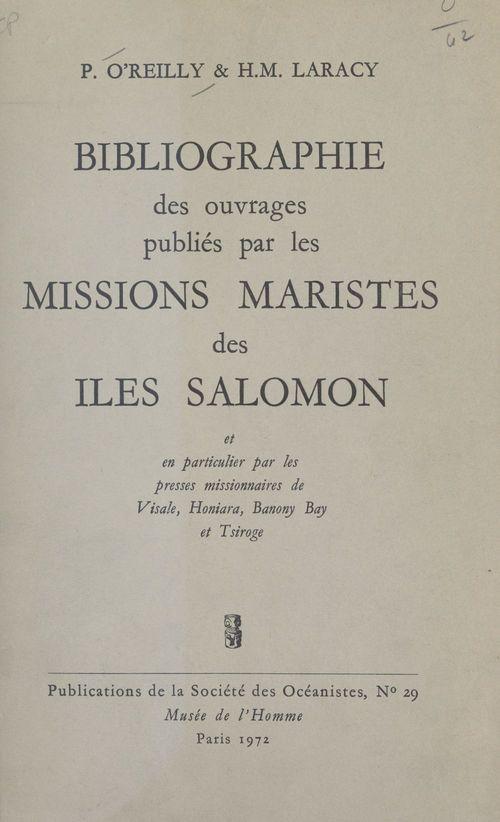 Bibliographie des ouvrages publiés par les missions maristes des îles Salomon