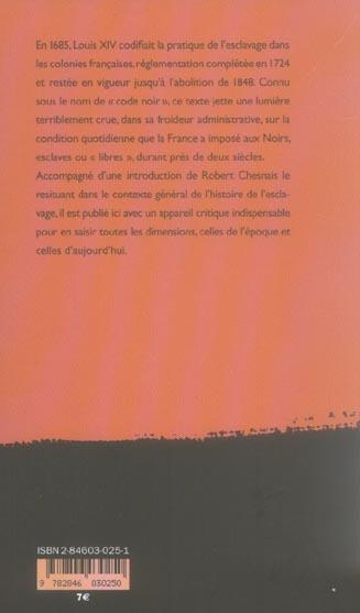 Esclavage a la francaise le code noir (1685 et 1724)