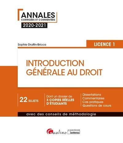 introduction générale au droit ; L1 (édition 2020/2021)