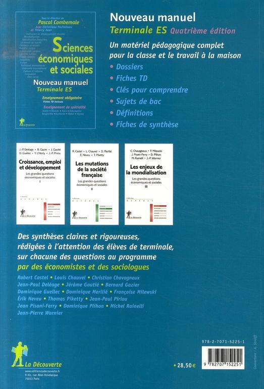 Sciences économiques et sociales ; terminale es ; enseignement obligatoire (édition 2007)