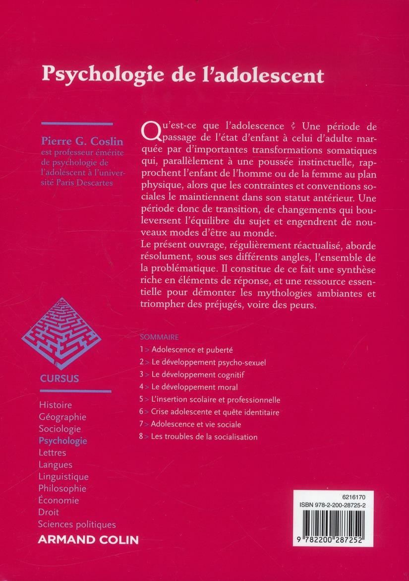 Psychologie De L Adolescent 4e Edition Pierre G Coslin Armand Colin Grand Format Librairies Autrement