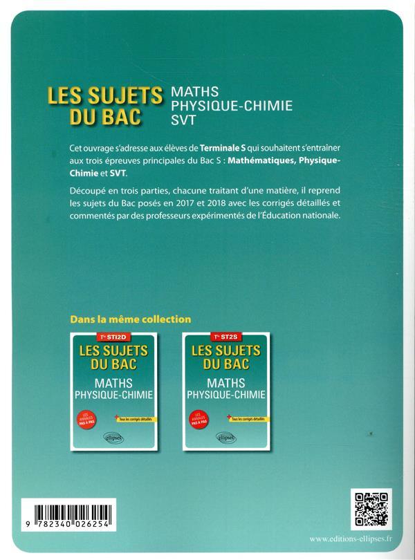 les sujets du bac ; mathématiques ; physique-chimie ; SVT ; terminale S (édition 2018)
