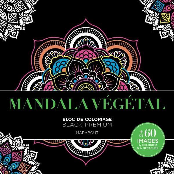 Mandala végétal ; bloc de coloriage ; black premium