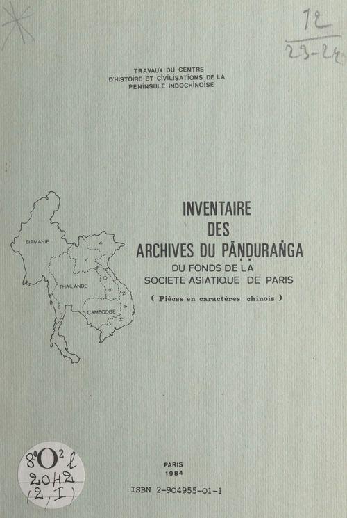 Inventaire des archives du Panduranga du fonds de la Société asiatique de Paris