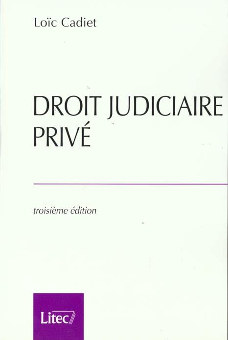 Droit judiciaire prive 2000 ; 3e edition