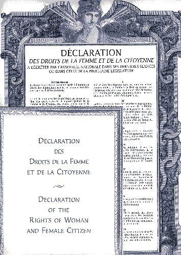Déclaration des droits de la Femme et de la citoyenne ; declaration of the rights of woman and female citizen