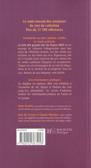 La cote des grands vins de france ; edition 2003