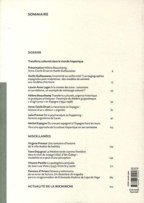 Revue melanges n.38/2 ; transferts culturels dans le monde hispanique